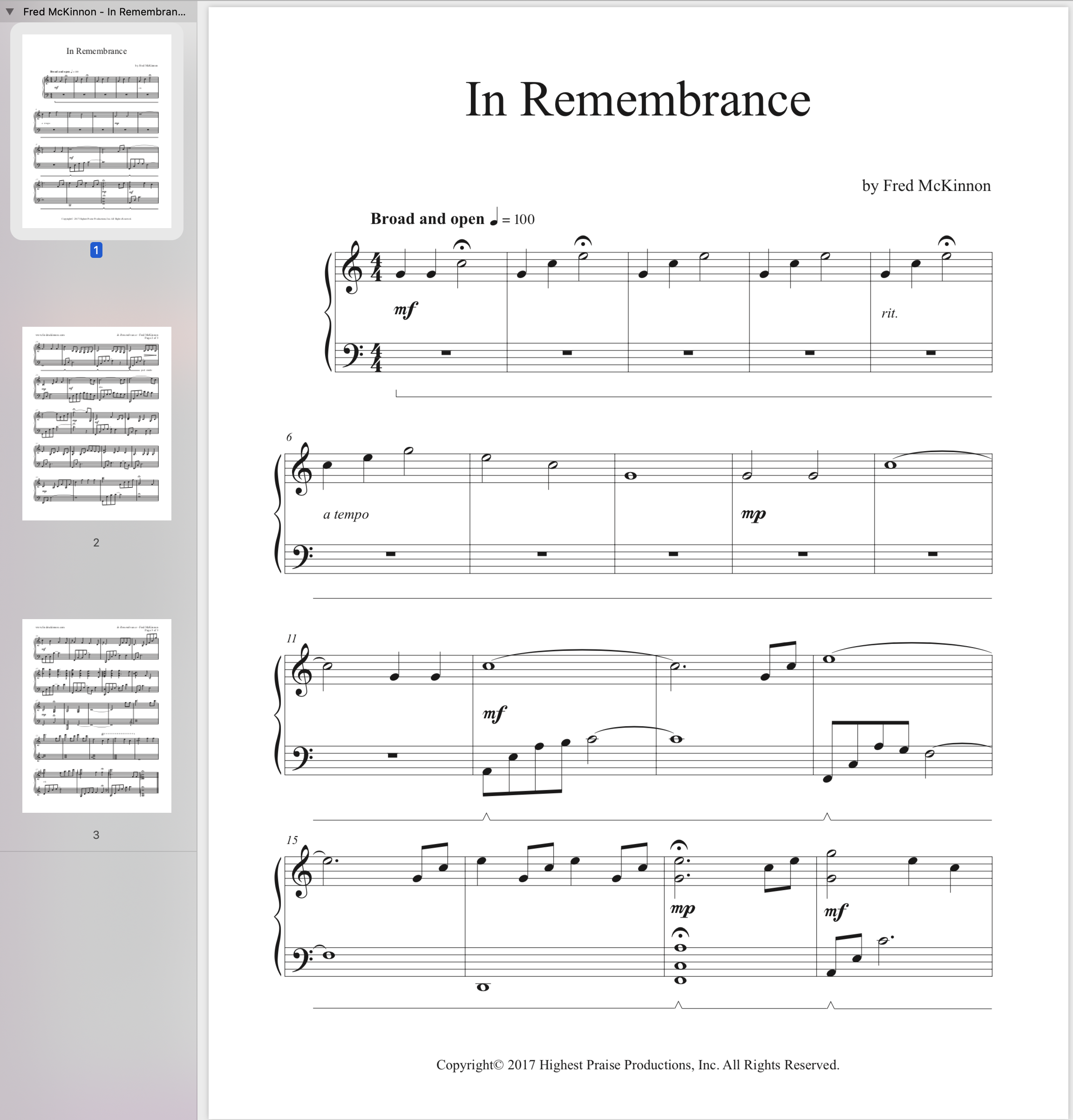 In Remembrance Sheet Music